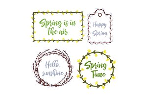 Spring wreaths and frames set.Lettering and garden flowers seasonal decorations for invitations, weddings, announcements and sales. Vector illustration