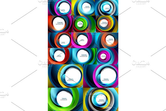 Swirling Spiral Background Set Colorful Stripes