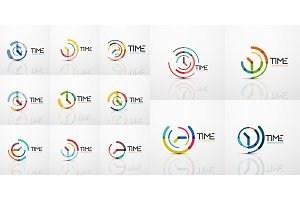 Mega collection of vector abstract logo idea, time concept or clock business icon. Creative logotype design template