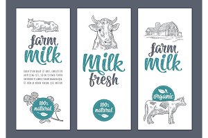 Template poster or label with cow and clover. Farm milk lettering