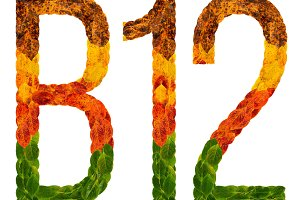 Autumn leaves bright letter B12. Isolated on white background. Colorful character of alphabet letter font. Element nature for decoration, design inscription.