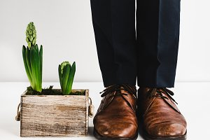 Groom in stylish shoes and flower