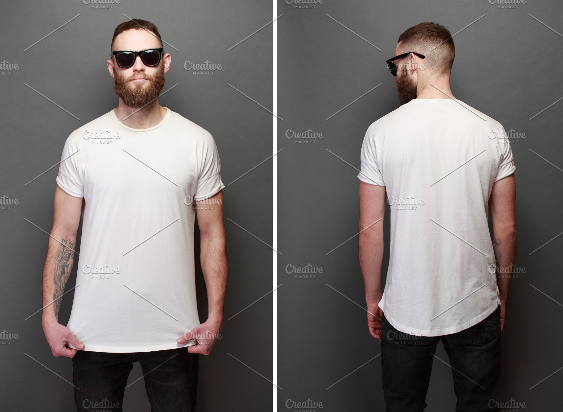 12faa124072f Hipster male model in white t-shirt ~ Beauty & Fashion Photos ...