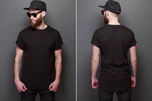 Black t-shirt on man for design