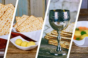 Passover background with wine bottle