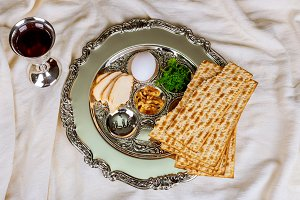 Passover with wine matzoh, egg  plat