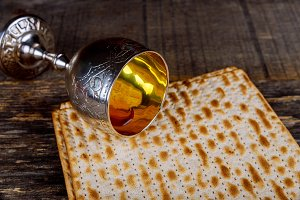Silver wine cup with matzah, Jewish