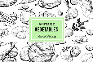 Set of vegetables hand drawn