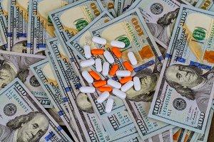 Bunch spilled pills american dollar