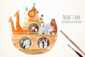 Watercolor illustration Noah's Ark