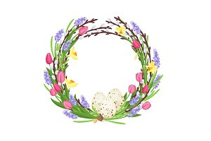Spring wreath from branches of willow and flowers decorated with quail eggs and narcissuses and mouse hyacinths . Traditional symbols of Catholic and Christian spring holiday. Vector illustration.