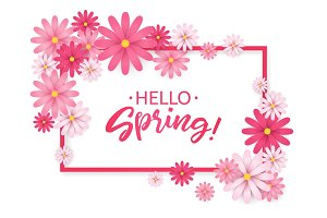 Hello Spring.Hand lettering with pink flowers frame.Paper chamomile on white background. Vector illustration.