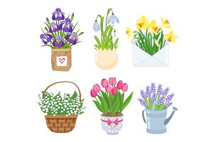 Summer and spring flowers in different funny pots decoration set. Decoration for easter, wedding invitation, Mother s Day stickers isolated on white background. Vector illustration.