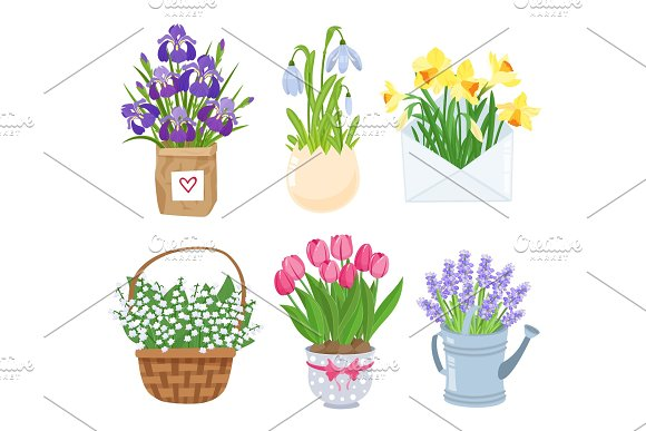 Summer And Spring Flowers In Different Funny Pots Decoration Set Decoration For Easter Wedding Invitation Mother S Day Stickers Isolated On White Background Vector Illustration