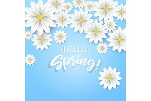 Hello Spring.Hand lettering with white flowers frame.Paper chamomile on blue background. Vector illustration.