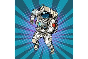 astronaut runs, the hero of space
