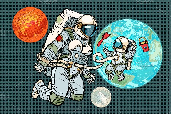 Astronaut Mother And Child On Planet Earth Humanity And The Uni
