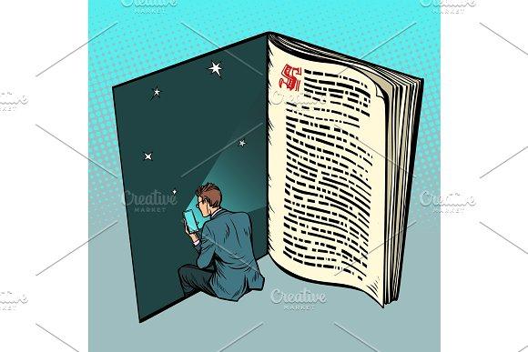 E-book, a man reads online text