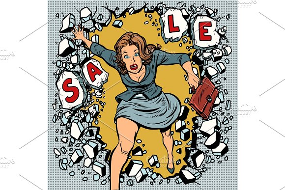 A Woman Runs For Sales Breaking The Wall