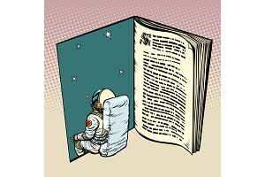 Book and astronaut, science fiction