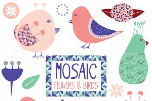Mosaic Birds & Flowers - Graphic Set