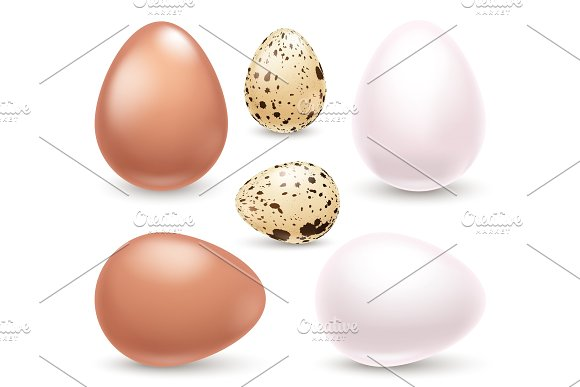 Set Of Realistic Eggs On White Background Easter Collection Vector Illustration