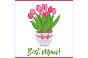 Happy Mothers Day lettering greeting banner with Flowers. Vector illustration.