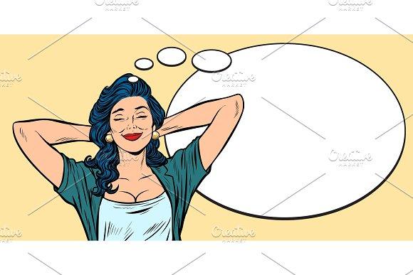 Woman Dreams Comic Bubble Background