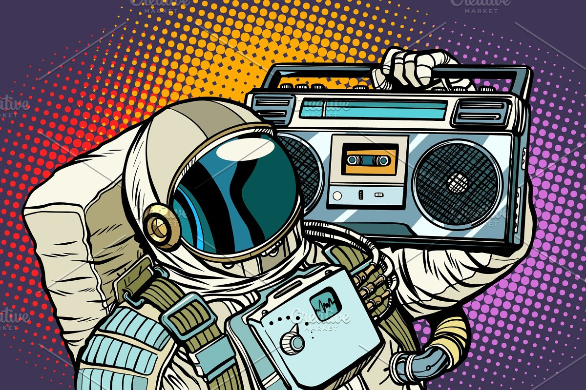 astronaut with Boombox, audio and music