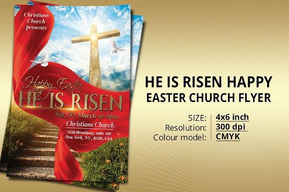 He Is Risen Happy Easter Church Flye