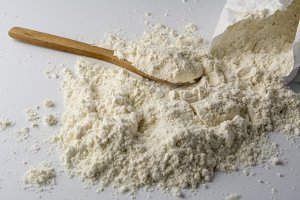 lot of flour on white base