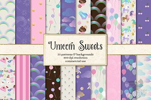Unicorn Sweets Digital Paper