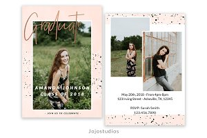 Rose Gold Graduation Invitation