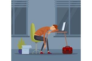 Sleeping student schoolboy pupil at school vector illustration