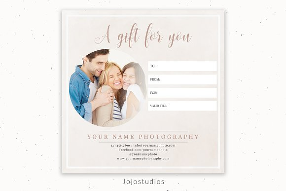 5 X5 Gift Certificate Template