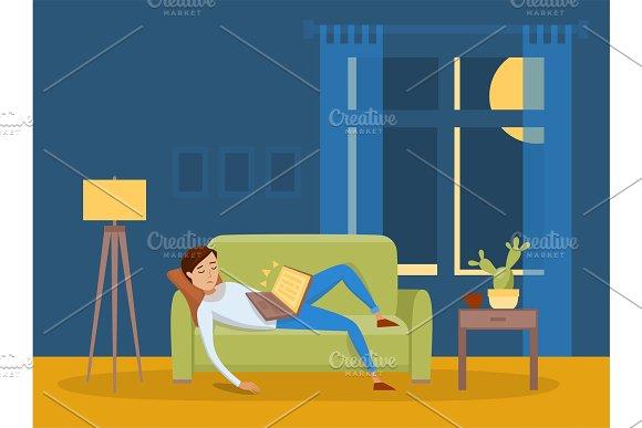 Sleeping Young Man At Home Vector Illustration
