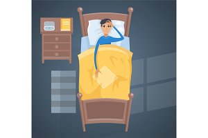 Sleeping young man in bed vector illustration.