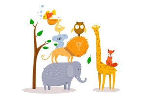 Cute funny cartoon animals Lion, giraffe, elephant, fox, owl.