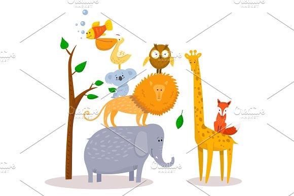 Cute Funny Cartoon Animals Lion Giraffe Elephant Fox Owl