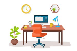 Empty modern workplace office interior. Vector image