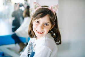 bokeh portrait of little girl