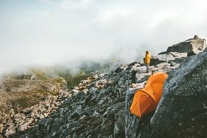 Camping on the top of mountain tent