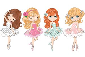 Ballerina girls-Cute girls vector