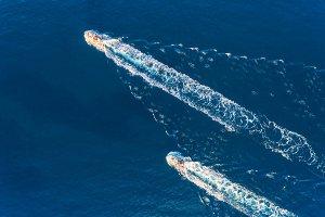 Yachts at the sea. Aerial view