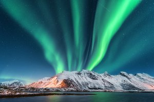 Aurora borealis. Lofoten islands, N
