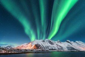 Aurora borealis. Lofoten islands, N