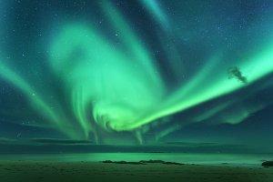 Aurora borealis above the sea