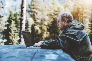 Man works on the laptop in the wood