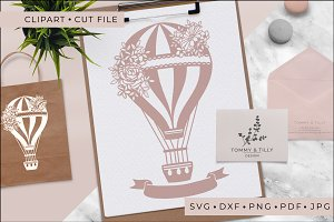 Wedding Hot Air Balloon - Clipart