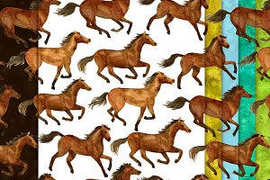 Watercolor Running Horses (patterns)